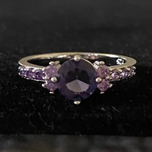 STAMPED 925 AMETHYST SILVER RING